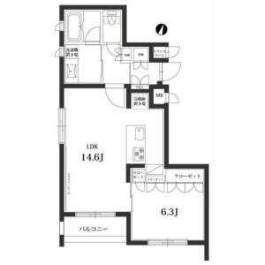 1LDK Mansion in Tairamachi - Meguro-ku Floorplan