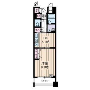 大田区千鳥-1DK公寓大厦 楼层布局