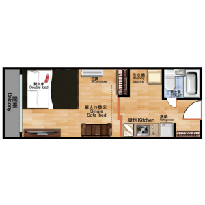 新宿區市谷長延寺町-1DK公寓大廈 房間格局