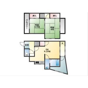 2DK House in Tennojiya - Yao-shi Floorplan