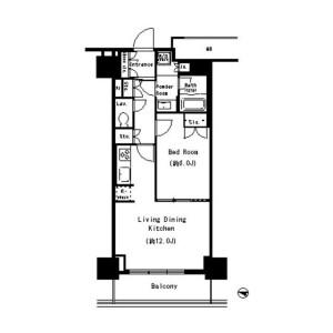 1LDK Mansion in Toyosu - Koto-ku Floorplan
