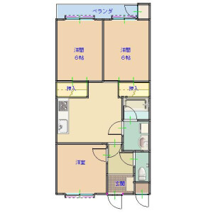 3DK Mansion in Makuharicho - Chiba-shi Hanamigawa-ku Floorplan