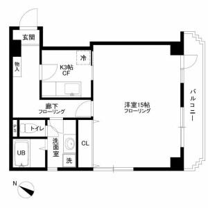 1K 맨션 in Chuocho - Meguro-ku Floorplan