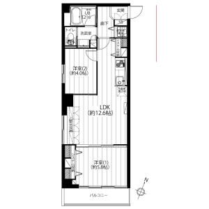 2LDK {building type} in Motoakasaka - Minato-ku Floorplan