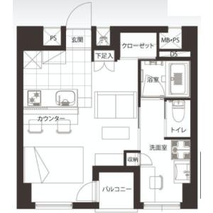 中央區日本橋本町-1R{building type} 房間格局