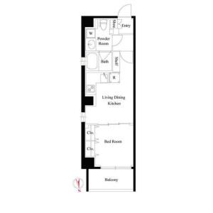 1LDK Mansion in Sanno - Ota-ku Floorplan