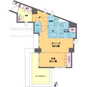 港區南麻布-1DK公寓大廈 房間格局