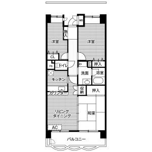 3DK Mansion in Shiomi - Koto-ku Floorplan