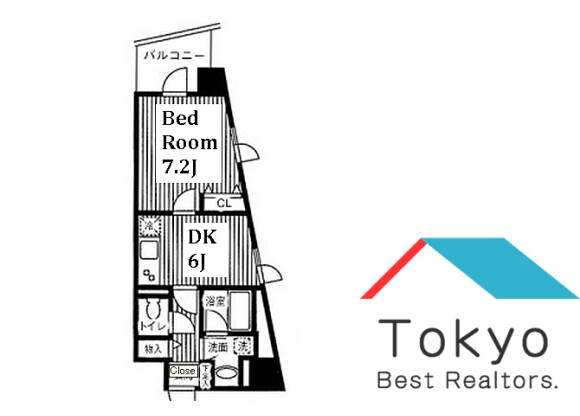 1DK Apartment to Rent in Shibuya-ku Floorplan