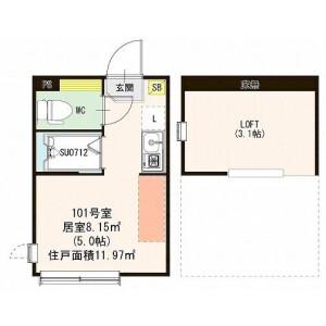 1R Apartment in Mukojima - Sumida-ku Floorplan