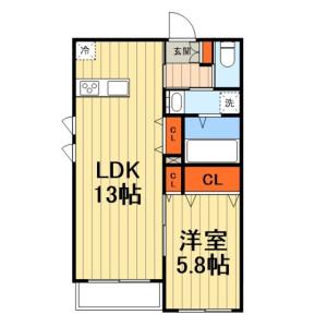 1LDK Mansion in Benten - Chiba-shi Chuo-ku Floorplan