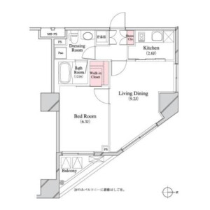 1LDK Mansion in Hatchobori - Chuo-ku Floorplan
