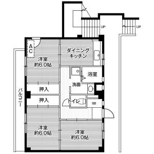 3DK Mansion in Shimokuzawa - Sagamihara-shi Chuo-ku Floorplan