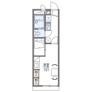 西宮市中須佐町-1K公寓 房間格局