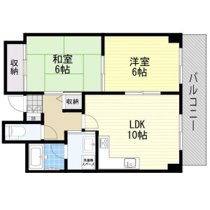 2LDK Mansion in Sunjiyata - Osaka-shi Higashisumiyoshi-ku Floorplan