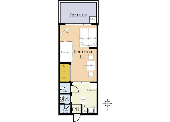 1DK Apartment to Rent in Yokohama-shi Nishi-ku Floorplan