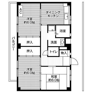 2LDK Mansion in Akuwa nishi - Yokohama-shi Seya-ku Floorplan
