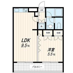 1LDK Mansion in Mizonokuchi - Kawasaki-shi Takatsu-ku Floorplan