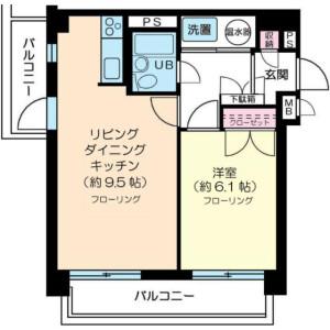 1LDK Mansion in Shirokanedai - Minato-ku Floorplan