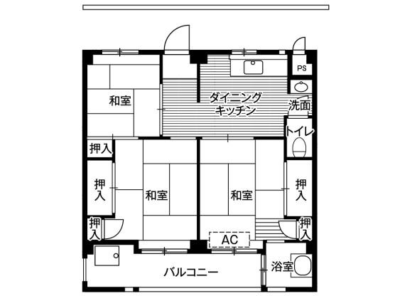 3DK Apartment to Rent in Matsudo-shi Floorplan