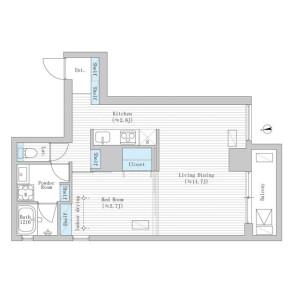 1LDK Mansion in Ichigayakagacho - Shinjuku-ku Floorplan