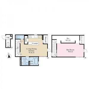 1LDK House in Roppongi - Minato-ku Floorplan
