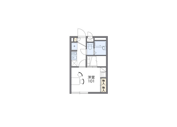 在横濱市西區內租賃1K 公寓 的房產 房間格局