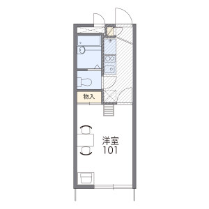 堺市美原区多治井-1K公寓 楼层布局