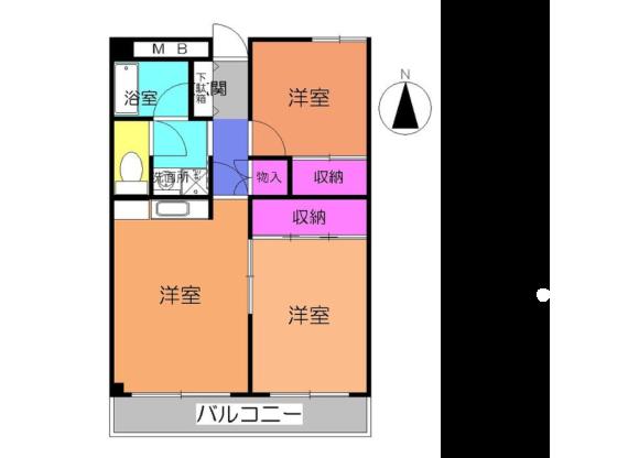 2LDK Apartment to Rent in Yokohama-shi Aoba-ku Floorplan