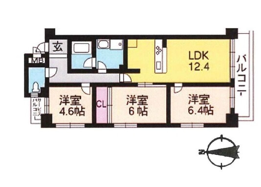 3LDK Apartment to Buy in Kyoto-shi Sakyo-ku Floorplan