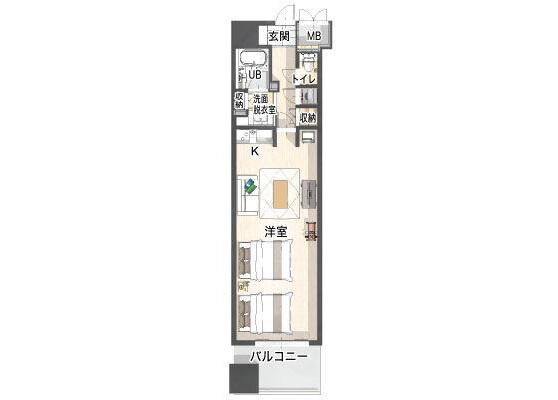 在横浜市港北区内租赁1R 公寓大厦 的 楼层布局