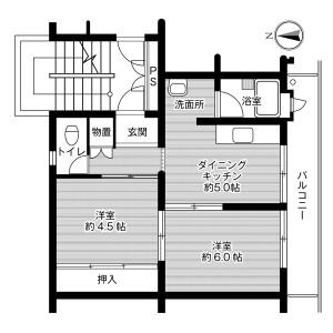 2DK Mansion in Matoba - Fukuoka-shi Minami-ku Floorplan