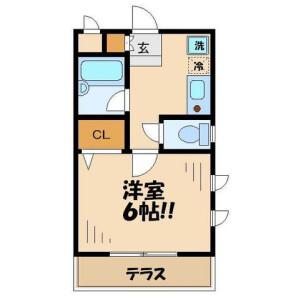 日野市 新井 1K アパート 間取り