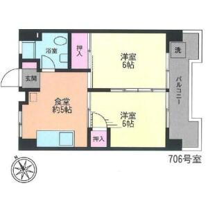 2DK Mansion in Aobadai - Meguro-ku Floorplan