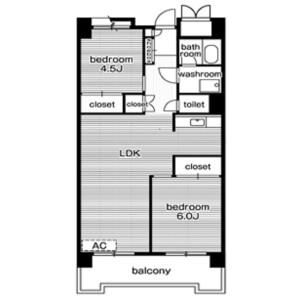 2LDK Mansion in Kaigan(3-chome) - Minato-ku Floorplan