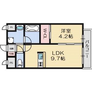 1LDK Mansion in Kurakakiuchi - Ibaraki-shi Floorplan
