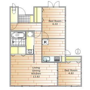 2LDK Apartment in Tairamachi - Meguro-ku Floorplan