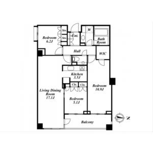 3LDK Mansion in Minamiazabu - Minato-ku Floorplan