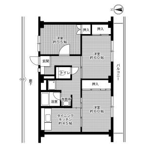 3DK Mansion in Yakeyama miyagasako - Kure-shi Floorplan