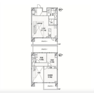 3LDK Mansion in Shirokanedai - Minato-ku Floorplan
