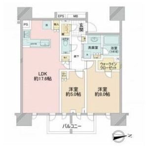 2LDK {building type} in Higashiazabu - Minato-ku Floorplan