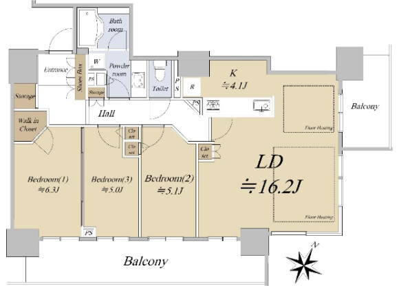 3LDK Apartment to Buy in Osaka-shi Fukushima-ku Floorplan