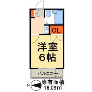 1K Apartment in Edogawadai higashi - Nagareyama-shi Floorplan