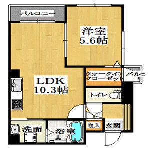 1LDK Mansion in Nishihommachi - Osaka-shi Nishi-ku Floorplan
