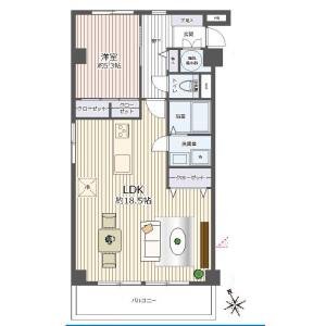1LDK {building type} in Tomioka - Koto-ku Floorplan