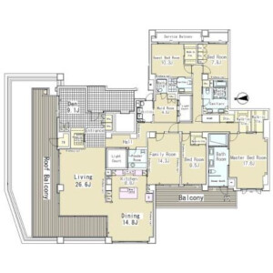 4SLDK Mansion in Takanawa - Minato-ku Floorplan