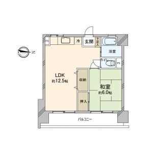 1LDK Mansion in Koyama - Matsudo-shi Floorplan