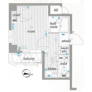 1K {building type} in Chidori - Ota-ku Floorplan