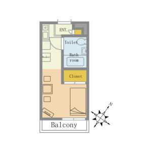 1K Mansion in Nishifuna - Funabashi-shi Floorplan