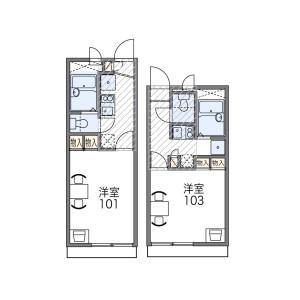 1K Apartment in Kuriyamacho - Amagasaki-shi Floorplan